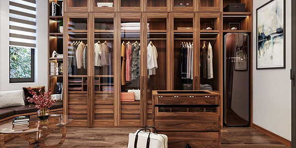 Tủ quần áo gỗ kính