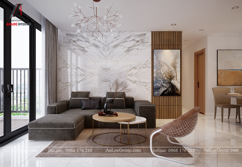 Thiết kế căn hộ 99m2 tại Imperia Sky Garden - Phòng khách bếp view 1
