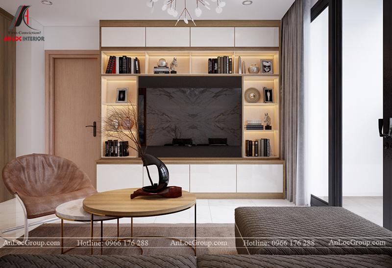 Thiết kế căn hộ 99m2 tại Imperia Sky Garden - Phòng khách bếp view 2