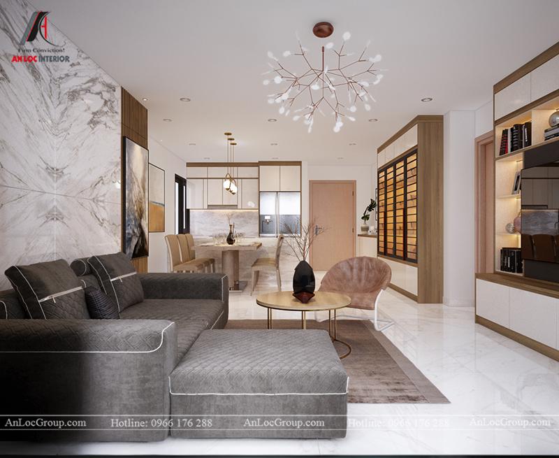 Thiết kế căn hộ 99m2 tại Imperia Sky Garden - Phòng khách bếp view 3