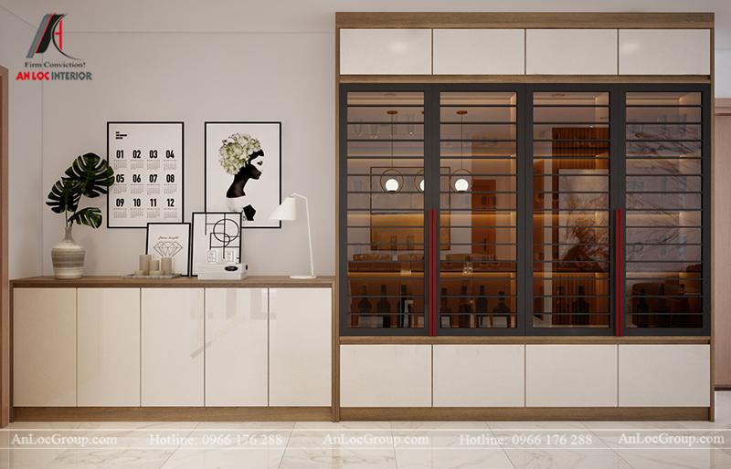 Thiết kế căn hộ 99m2 tại Imperia Sky Garden - Phòng khách bếp view 5
