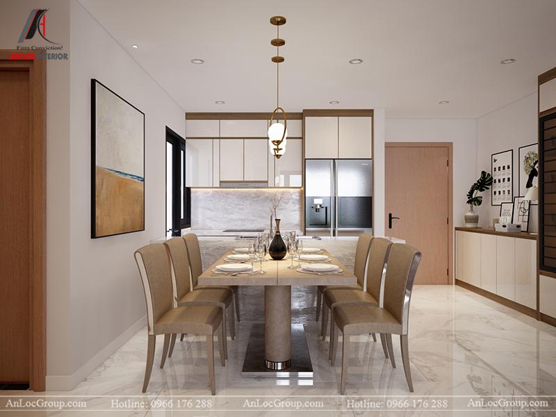 Thiết kế căn hộ 99m2 tại Imperia Sky Garden - Phòng khách bếp view 6
