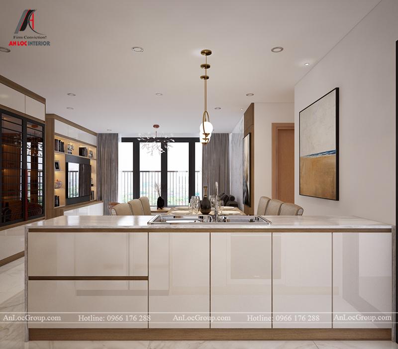 Thiết kế căn hộ 99m2 tại Imperia Sky Garden - Phòng khách bếp view 7