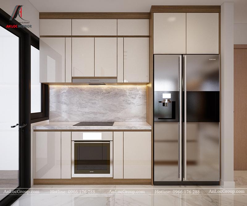 Thiết kế căn hộ 99m2 tại Imperia Sky Garden - Phòng khách bếp view 8