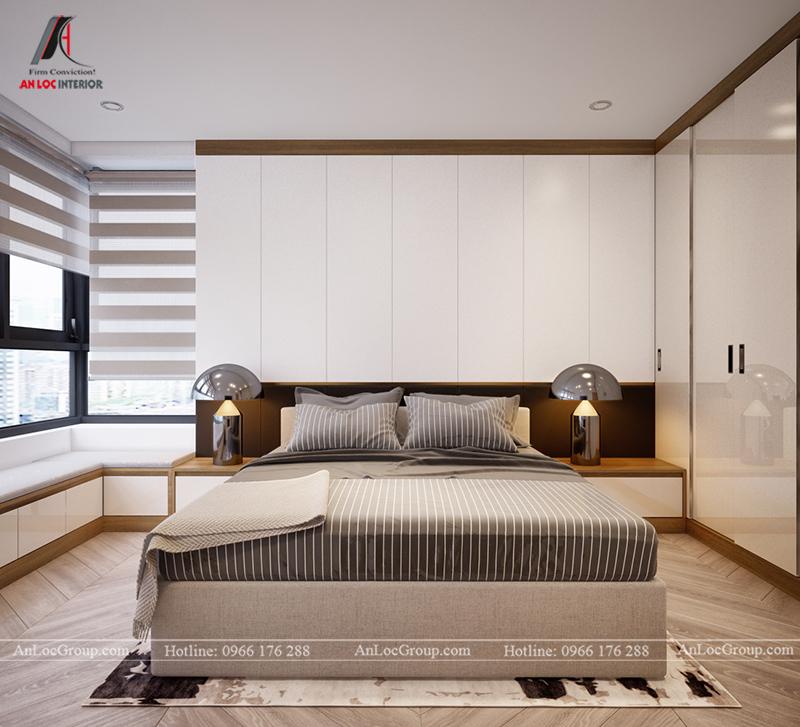 Thiết kế căn hộ 99m2 tại Imperia Sky Garden - Phòng ngủ 2 view 1
