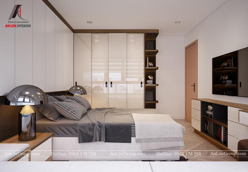 Thiết kế căn hộ 99m2 tại Imperia Sky Garden - Phòng ngủ 2 view 3