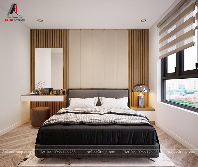 Thiết kế căn hộ 99m2 tại Imperia Sky Garden - Phòng ngủ master view 1