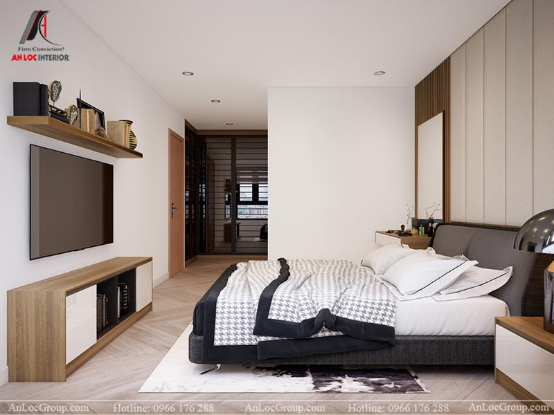 Thiết kế căn hộ 99m2 tại Imperia Sky Garden - Phòng ngủ master view 3