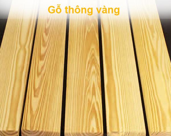 Gỗ Thông Vàng có vân đều, đẹp, màu vàng óng, khả năng chịu nhiệt cao