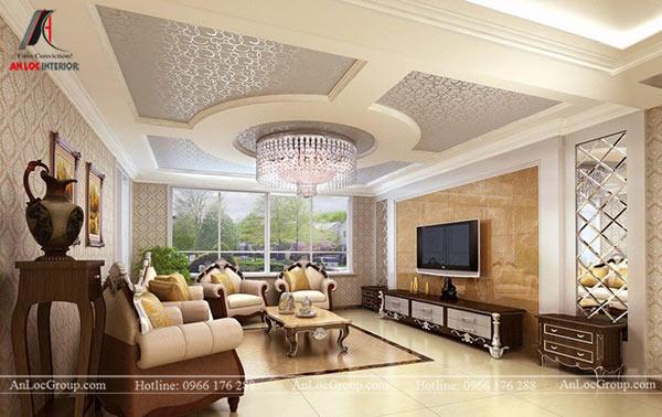 Mẫu 2 - Trang trí trần phòng khách đẹp, kiểu dáng sang trọng
