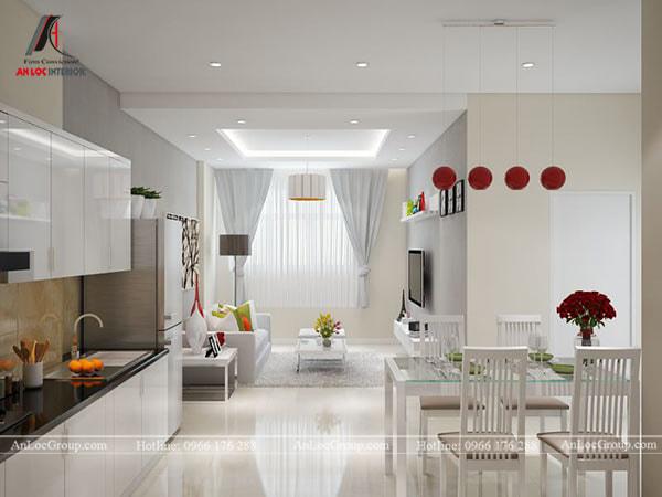 Mẫu 3 - Trần nhà cho phòng khách liền bếp. Mẫu này phù hợp cho các căn hộ chung cư có diện tích nhỏ hẹp.