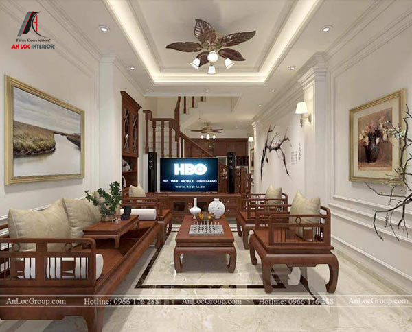Mẫu 4 - Trần thạch cao phòng khách nhà ống phong cách tân cổ điển