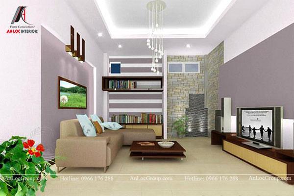 Mẫu 5 - Phòng khách nhỏ nên tạo điểm nhấn trên trần nhà