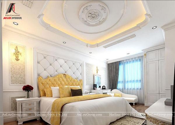 Mẫu 1 - Trần thạch cao phòng ngủ tân cổ điển có hoa văn đẹp