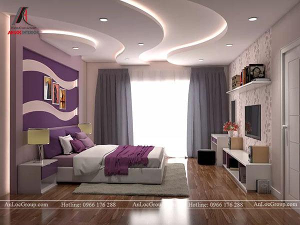 Mẫu 4 - Đèn âm trần tạo điểm nhấn cho trần nhà phòng ngủ
