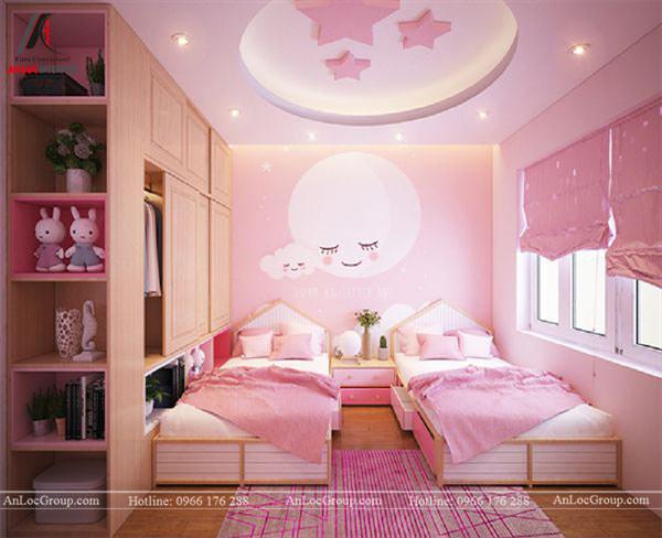 Mẫu 1 - Trần phòng ngủ bé gái màu hồng