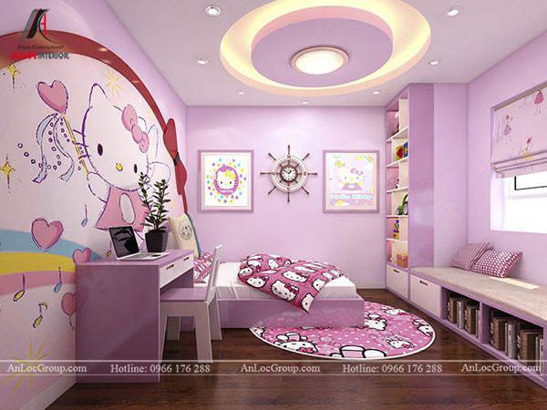Mẫu 4 - Trang trí trần nhà phòng ngủ bé gái hình tròn