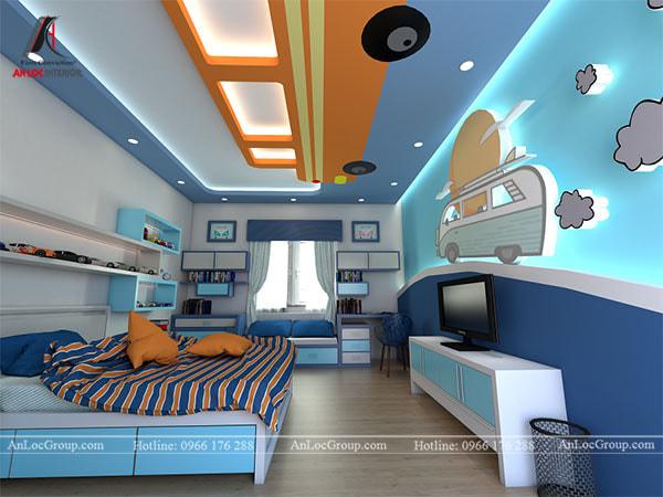 Mẫu 1 - Trang trí trần phòng bé trai với hình ảnh ô tô