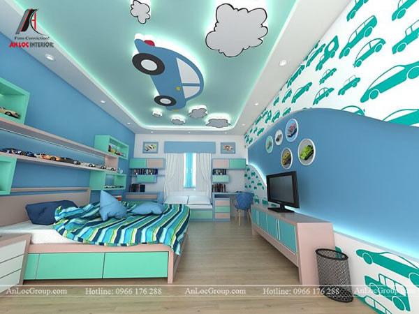 Mẫu 3 - Trang trí trần phòng bé trai với ô tô và mây trời