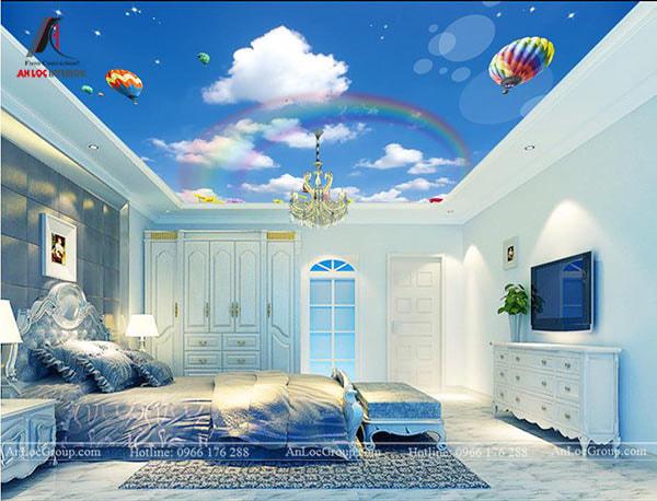 Mẫu 5 - Hình ảnh bầu trời sống động trên trần phòng ngủ cổ điển