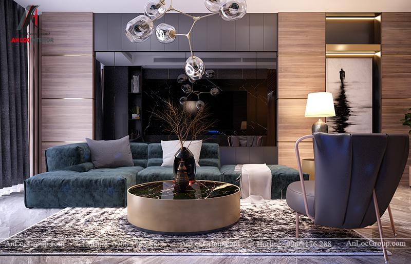 Bức tường phía sau ghế sofa sử dụng gương tối màu tạo nên hiệu ứng hình ảnh vô cùng đặc sắc