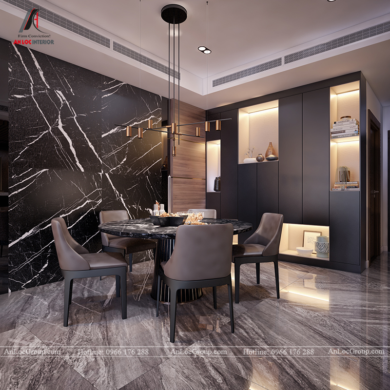 Nội thất căn hộ 86m2 tại Sài Gòn Pearl phòng khách bếp view 5