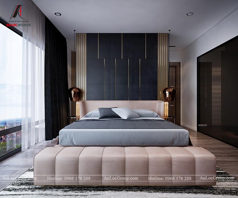 Nội thất căn hộ 86m2 tại Sài Gòn Pearl phòng ngủ master view 1