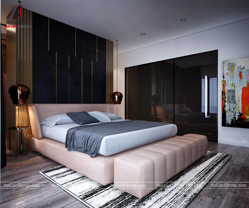 Nội thất căn hộ 86m2 tại Sài Gòn Pearl phòng ngủ master view 2