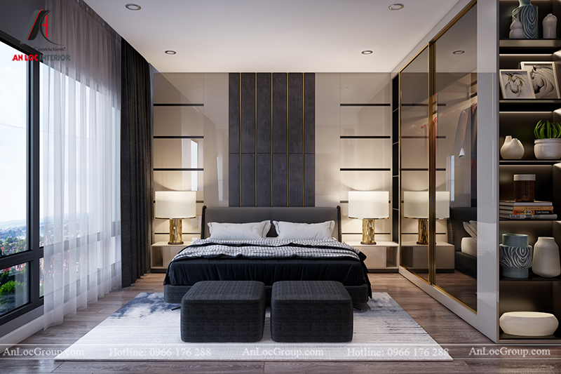 Nội thất căn hộ 86m2 tại Sài Gòn Pearl phòng ngủ nhỏ view 1