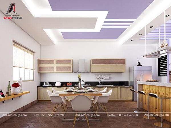 Mẫu 10 - Trần phòng bếp hiện đại với màu tím và trắng