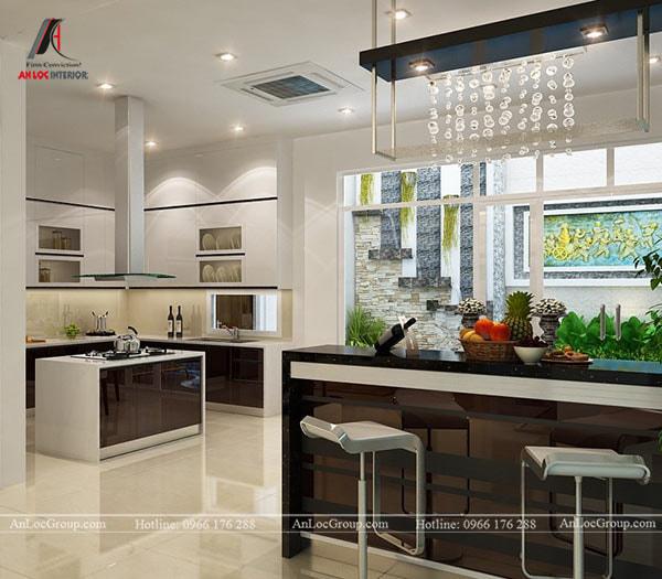 Mẫu 4 - Trần thạch cao phẳng đơn giản trong phòng bếp