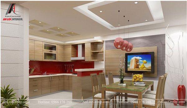 Mẫu 6 - Trần nhà đẹp, đơn giản cho phòng bếp và phòng ăn