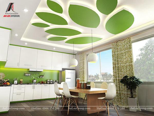 Mẫu 8 - Trần nhà phòng bếp với điểm nhấn là màu xanh của lá