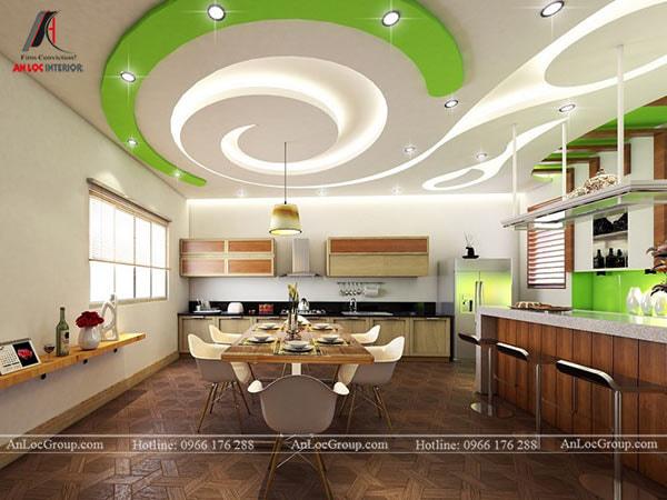 Mẫu 9 - Trang trí trần phòng bếp ấn tượng với họa tiết hiện đại