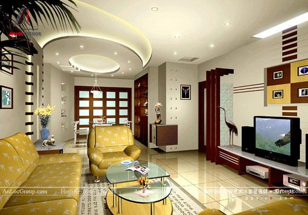 Mẫu 12 - Trần phòng khách chung cư