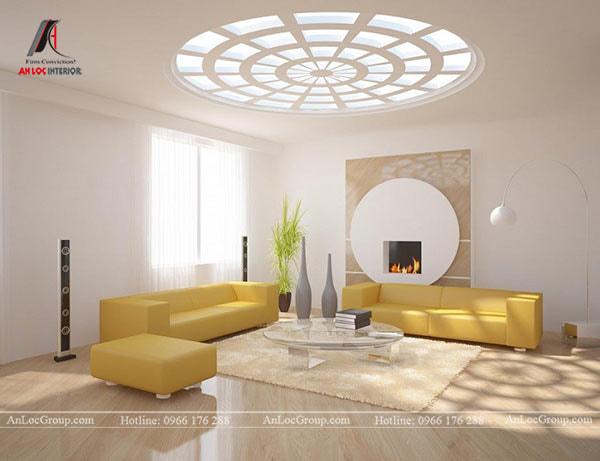 Mẫu 13 - Trần phòng khách chung cư sử dụng ánh sáng làm điểm nhấn