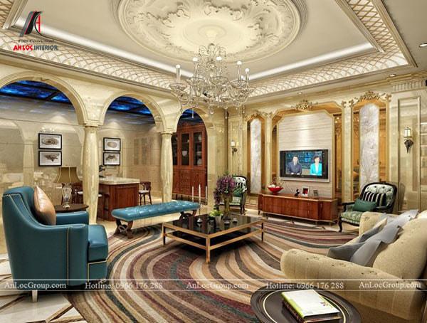 Mẫu 14 - Trần phòng khách phong cách cổ điển sang trọng với những họa tiết độc đáo