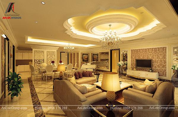 Mẫu 15 - Trần phòng khách cổ điển màu vàng nắng