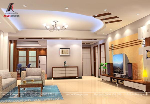 Mẫu 16 - Trần thạch cao phòng khách hiện đại