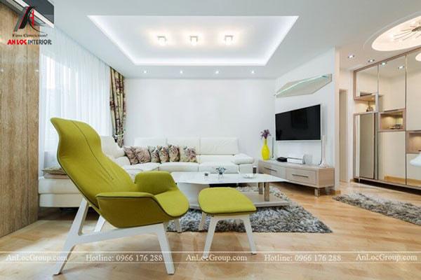 Mẫu 9 - Màu xanh nhạt của trần nhà giúp không gian phòng khách trở nên dễ chịu