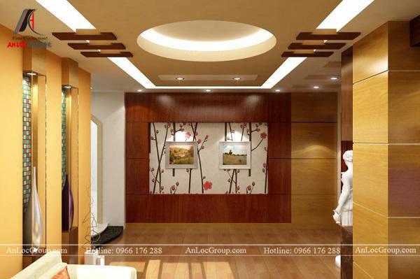 Mẫu 6 - Trần phòng khách đẹp, kiểu dáng hiện đại