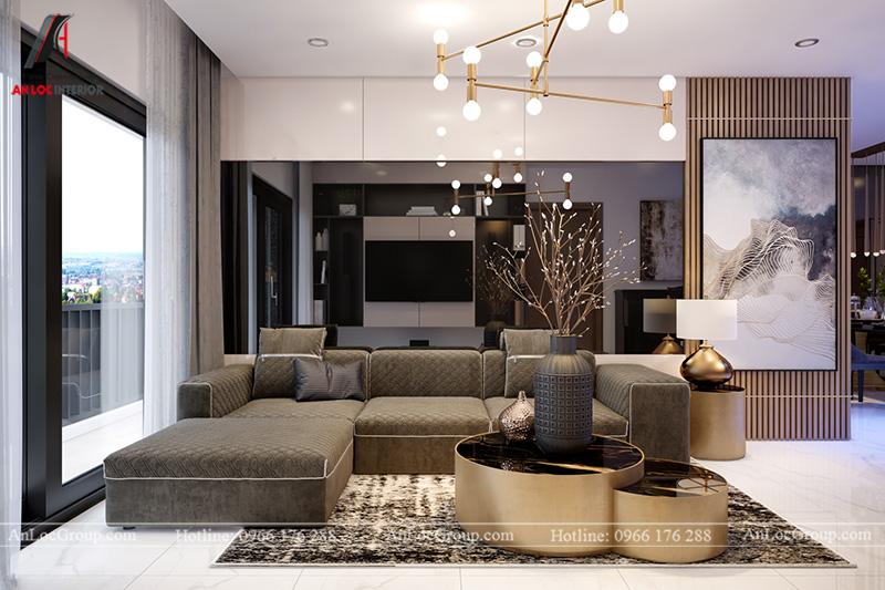 Ghế sofa sang trọng trong phòng khách căn hộ