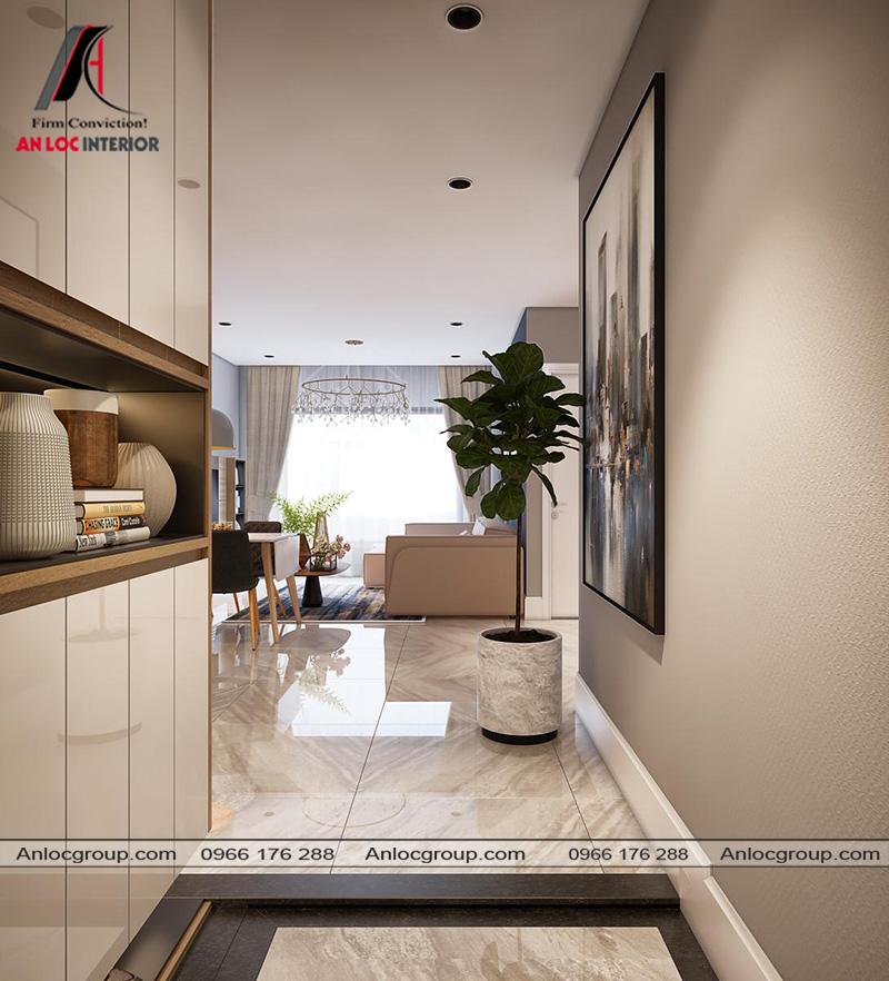 Lối vào căn hộ hướng thẳng vào phòng khách
