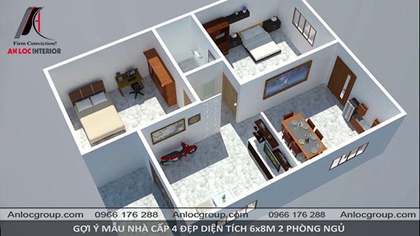Mẫu 61 - Ngôi nhà được chia thành 2 phần, một phần dành cho không gian chung với phòng khách, bếp. Phần còn lại là 2 phòng ngủ.