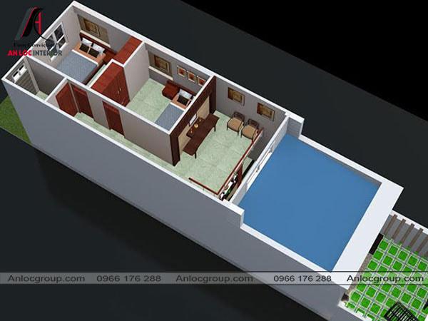 Mẫu 70 - Nội thất nhà cấp 4 dạng ống 4x12m