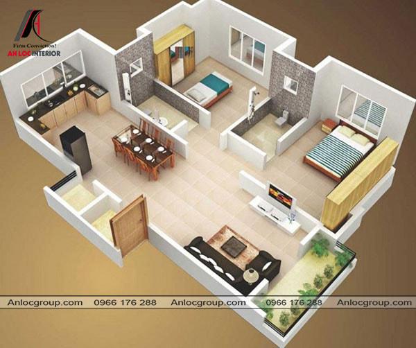 Mẫu 62 - Thiết kế phòng khách liền bếp tạo nên sự thông thoáng cho ngôi nhà