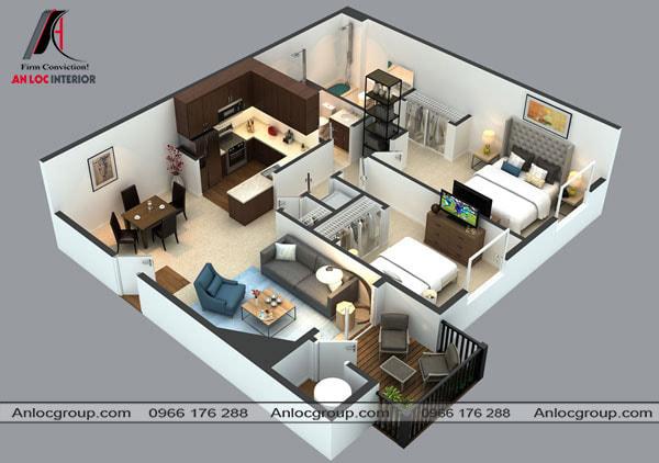 Mẫu 63 - Nội thất nhà cấp 4 được bố trí theo hình vuôn với 2 phòng ngủ nằm cạch nhau
