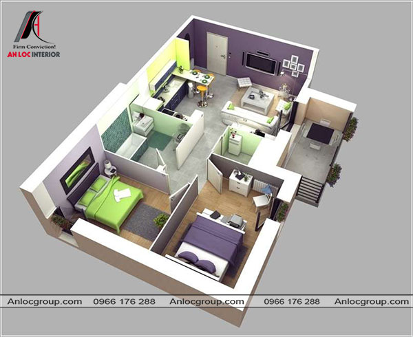 Mẫu 64 - Không gian phòng khách và bếp được thiết kế liền kề tạo sự thông thoáng cho không gian chung.