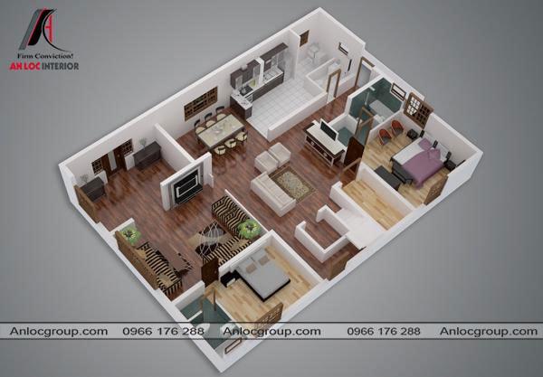 Mẫu 66 - Hai phòng ngủ đặt cách xa nhau. Trong nhà cấp 4 có phòng khách và phòng sinh hoạt chung.