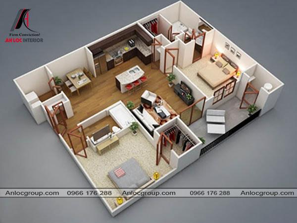 Mẫu 67 - Không gian chung nằm chính giữa tách biệt 2 phòng ngủ